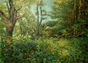 <b>Padlá třešen</b> Obraz vznikl na přání v roce 2010, v lesíku u Pelhřimova v květnových ranních hodinách. Jde o zakoutí s padlou, ale plodící třešní. Dnes tam už tato třešeň není. Technika: olej na plátně. Rozměry obrazu: 70 x 50 cm. prodáno.