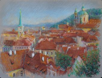 <strong>Ze zahrad Pražského hradu</strong> Obraz vznikal v Pražských zahradách po několik červnových podvečerů technika: pastel na specialním papírurozměr: 65 x 50 cmObraz vznikal v roce 2013Pastel je prodán