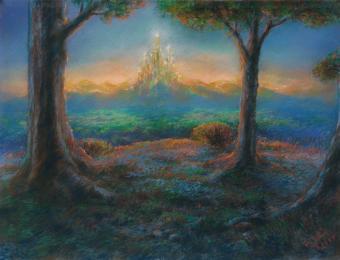 """<strong>cestou ke světlému hradu</strong>      Kresleno podle inspirace. Technika: pastel na křídovém papíru. Rozměr: 65x50 cm. Pastel je na prodej  (pro cenu mě <a href=""""/kontakt/"""">kontaktujte</a>)."""