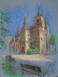 <strong>kostel Sv Petra v Praze </strong> Obraz jsem kreslil v letních odpoledních, v koutku u Svatopetržské věže. Technika: pastel na specialním papírurozměr: 65 x 50 cmObraz vznikal v roce 2013Pastel je na prodej    cena  je  85 EUR