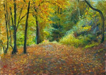 """<strong>Podzim v sadech</strong> Tento obraz vznikal po několik pozdních odpolední v Pelhřimovských sadech.  Technika: olej na plátně. Rozměry: 70 x 50 cm. Obraz je na prodej (pro cenu mě <a href=""""/kontakt"""">kontaktujte</a>)."""