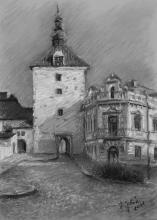 <strong>Rynárecká brána ráno</strong> Kresleno v plenéru v Pelhřimově. Technika: pastel na specialním papíře. Rozměr: 42 x 30 cm. prodáno.