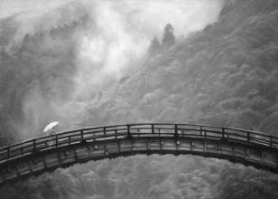 <strong>Krajina za mostem</strong>      Obraz krajiny s japonským celodřevěným mostem vznikl v roce 2010 na zakázku podle fotografie. V době vzniku byl pro mně obraz i výzvou a lekcí práce s olejem. Především jemná atmosféra mlžné krajiny za mostem. technika: olej na plátně  rozměry: 70 x 50 cm. Obraz vznikl na zakázku a má svého majitele