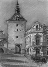 <strong>Rynárecká brána podvečer</strong> Kresleno v plenéru v Pelhřimově. Technika: pastel na specialním papíře. Rozměr: 42 x 30 cm. prodáno.