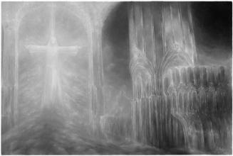 """<strong>V chrámu</strong>      Technika : olej na plátně, obraz byl dokončen roku 2015. Rozměr obrazu je  150x100cm.  Obraz je možno si objednat i jako reprodukci (pro cenu mě <a href=""""/kontakt"""">kontaktujte</a>)."""